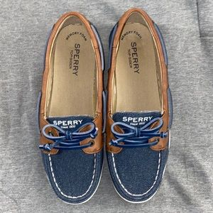 SPERRY Firefish Navy Sparkle Girls Size 3.5 Shoes